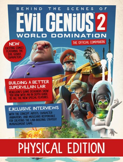 Magazine cover with Evil Genius 2 artwork
