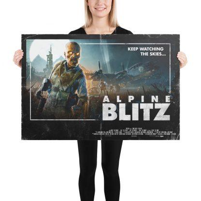 Female model holding Alpine Blitz large poster