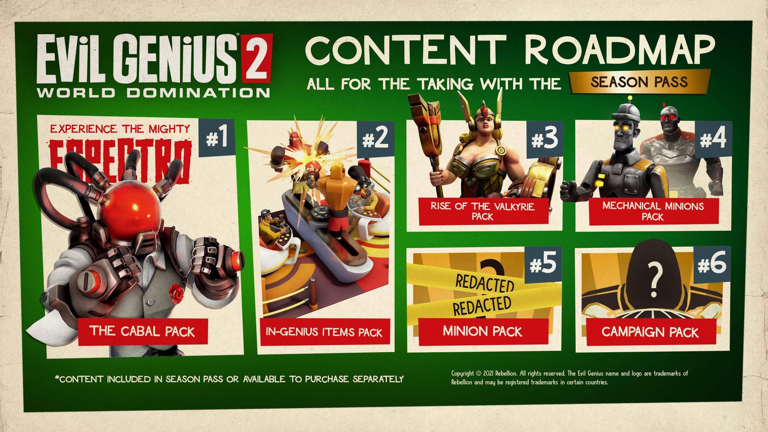 Image of Evil Genius 2 downloadable content roadmap