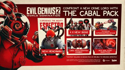Outline of Evil Genius 2 - The Cabal Pack DLC content featuring henchman Espectro
