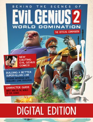 Evil Genius 2 magazine cover featuring 4 geniuses and island lair