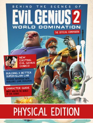 Evil Genius 2 Magazine cover with 4 geniuses and island lair