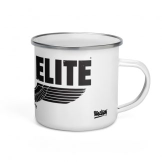 Enamel mug (white) with Sniper Elite logo (black)