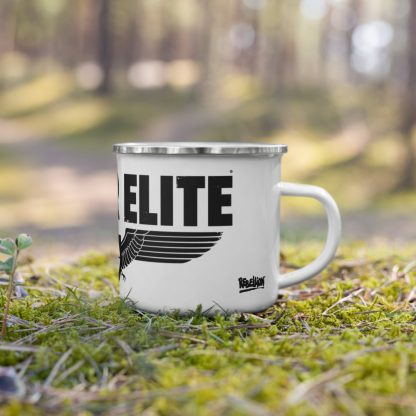White enamel mug with Sniper Elite logo placed in the woods