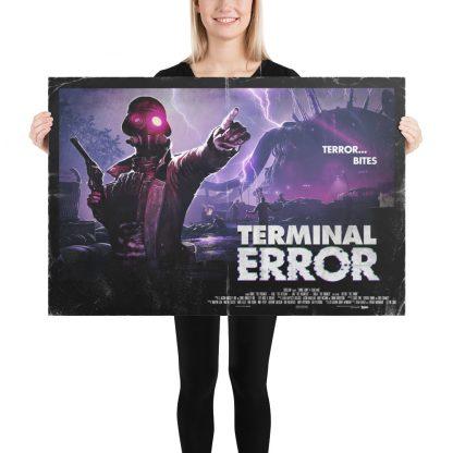 Female model holding Terminal Error large poster