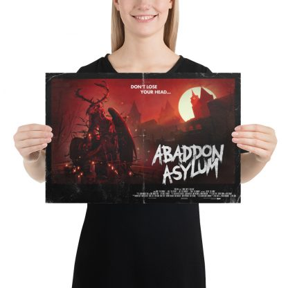 Model holding 12 x 18 poster of Zombie Army 4 Abaddon Asylum level art