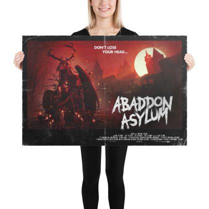 Model holding 24 x 36 poster of Zombie Army 4 Abaddon Asylum level art