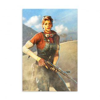 Postcard featuring Strange Brigade character Gracie Braithwaite