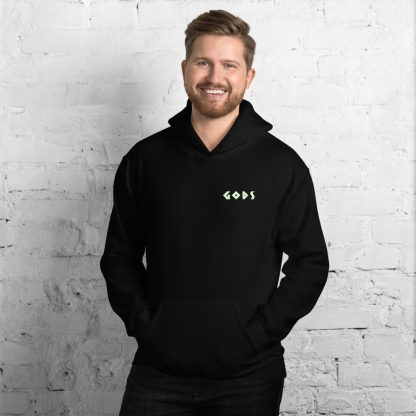 Black hoodie worn by male model with Gods logo in blue