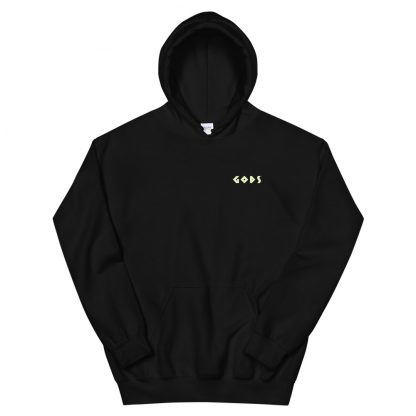 Black hoodie with Gods logo in gold