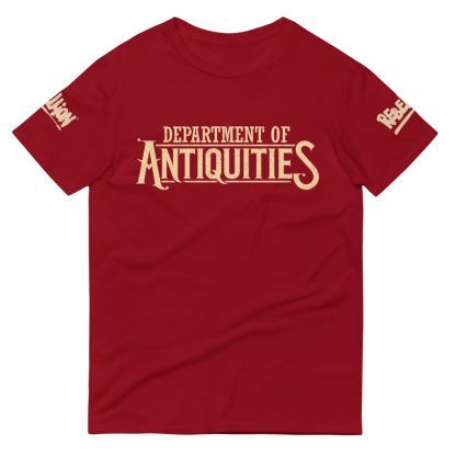 T-shirt in red featuring the Strange Brigade Department of Antiquities