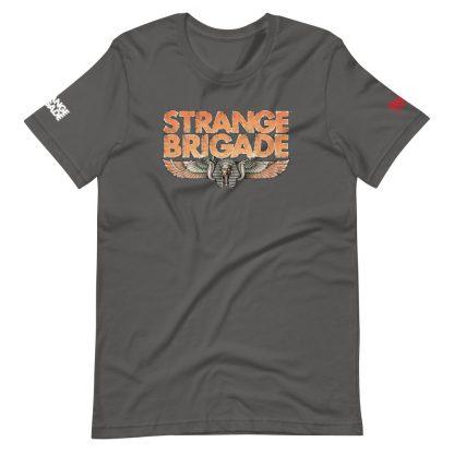 T-shirt in asphalt colour featuring Strange Brigade logo