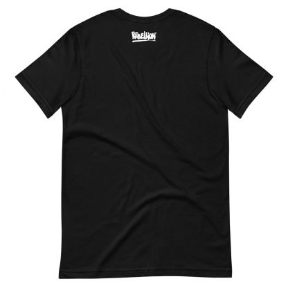 Reverse of t-shirt in black featuring Evil Genius 2 characters