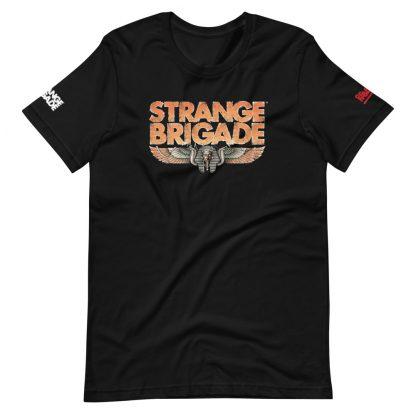 T-shirt in black featuring Strange Brigade logo