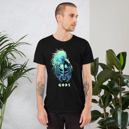 Black T-shirt worn by male model with Gods helmet of Hercules artwork in blue