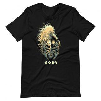 Black T-shirt with Gods helmet of Hercules artwork in Gold
