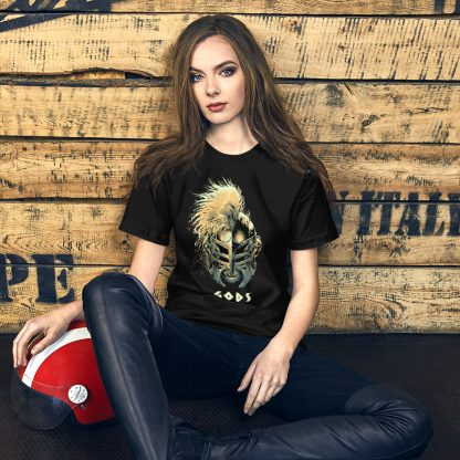Black t-shirt worn by female model with Gods helmet of Hercules artwork in Gold