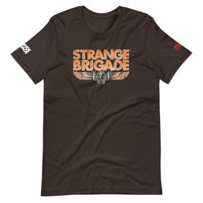 T-shirt in brown featuring Strange Brigade logo