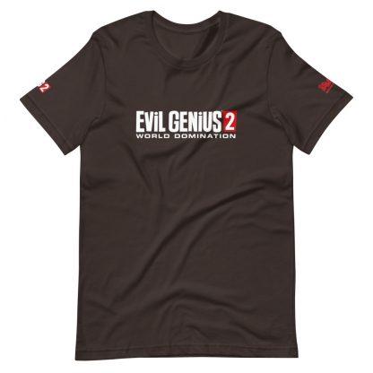 T-shirt in brown featuring Evil Genius 2 Logo