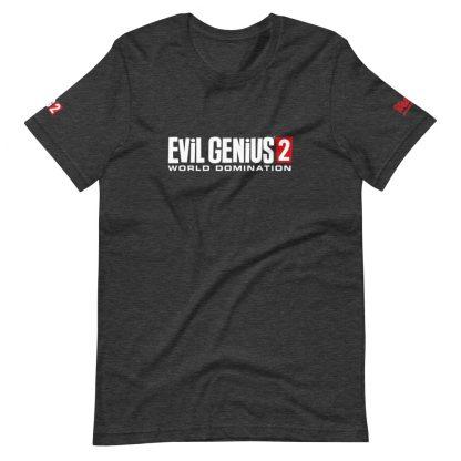 T-shirt in dark grey heather featuring Evil Genius 2 Logo