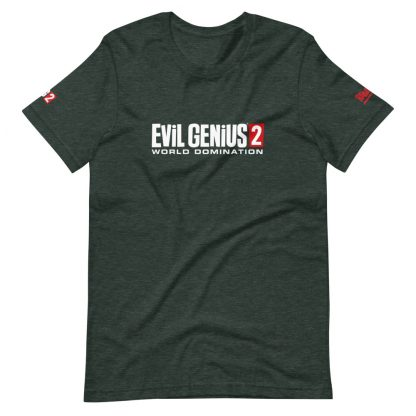 T-shirt in heather forest featuring Evil Genius 2 Logo