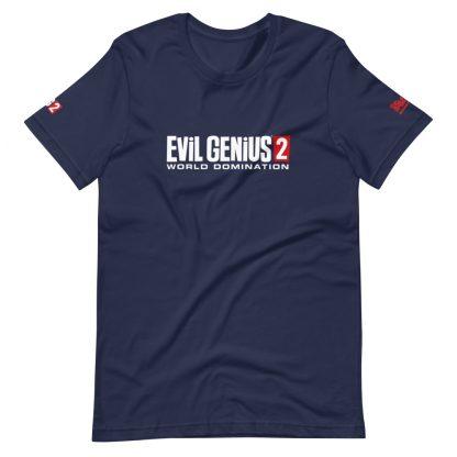 T-shirt in Navy featuring Evil Genius 2 Logo