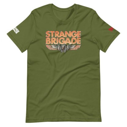 T-shirt in olive featuring Strange Brigade logo
