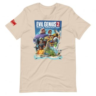 T-shirt in cream featuring Evil Genius 2 characters