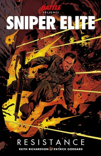 Cover art for Sniper Elite Resistance featuring Karl Fairburne leaping from an explosion