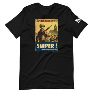 T-shirt in black featuring a propaganda recruitment poster to become a sniper