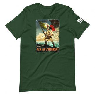 T-shirt in forest green with Italian propaganda poster per la vittoria
