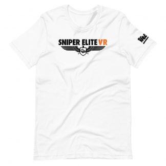 T-shirt in white featuring Sniper Elite VR logo