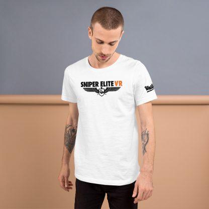 Male model wearing Sniper Elite VR t-shirt in white