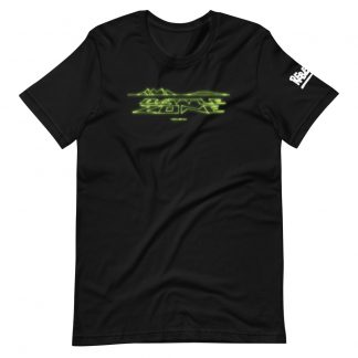 T-shirt in black featuring Battlezone logo in wire vector graphics