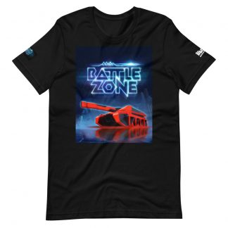 T-shirt in black featuring Battlezone VR logo and Cobra tank