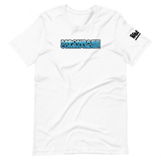 T-shirt in white featuring Moonbase Commander logo