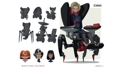 Preview page from the Art of Evil Genius 2 book showing concept art for Emma