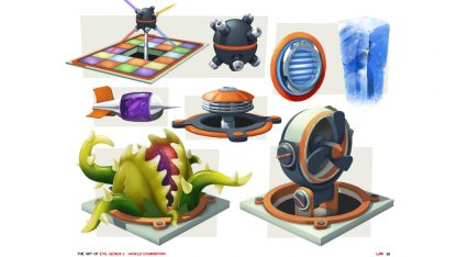 Preview page from the Art of Evil Genius 2 book showing concept art for traps