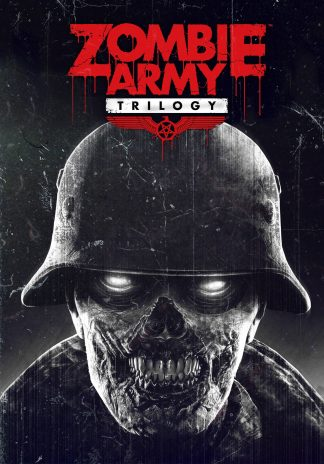 Box art of Zombie Army Trilogy video game featuring zombie wearing a military helmet