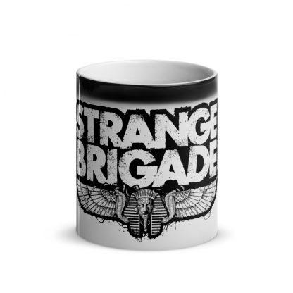Heat changing mug with Strange Brigade logo reveal in black and white